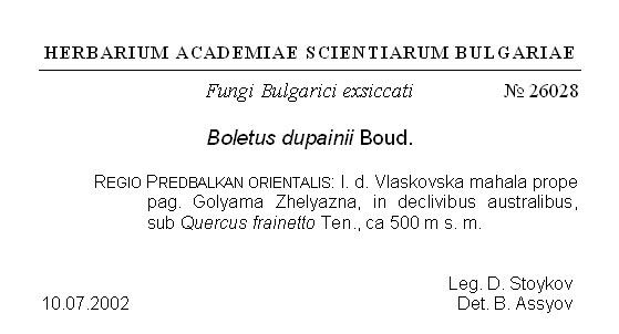 Herbarium label